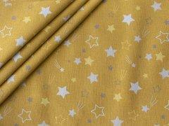 Baumwolle - Sterne - Kometen - gelb - weiß
