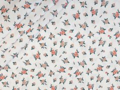 Baumwolle - Blumen - weiss - dunkelmint - rosa