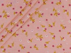 Modal Tencel Jersey - zarten Blumen - lachs - pink- grün