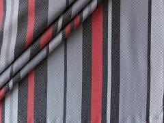 Viskose - Streifen - grau - schwarz - rot