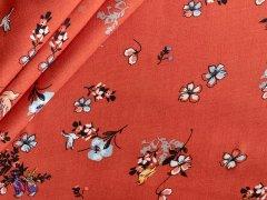 Viskose Twill - Blumen - Vögel - rost - schwarz - hellblau