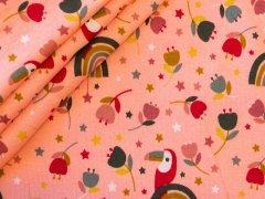 Alpenfleece - Vögel - Regenbögen - lachs - rot - grün