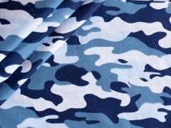 Reststück 0,80m - Baumwolle - camouflage blau - navy - hellgrau