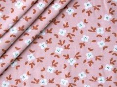 Bio Jersey - kleine Blüten mit Zweigen - rosa - rost - weiß