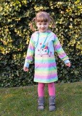 Schnittmuster - Sweatkleid mit Rockabtrennung und Kapuze/ Kragen für Kinder und Teenies
