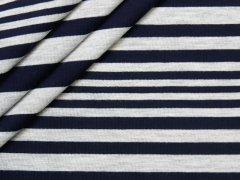 Jersey Single - unregelmäßige Streifen - dunkelblau - grau meliert