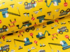 Fleece - Double - Face - Baustelle - Fahrzeuge - gelb