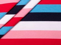 French Terry - Blockstreifen - hellblau - dunkelblau - rosa - pink - weiß