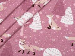 Jersey Single - Winterlandschaft - Füchse - lila - weiß - Hilco - lila