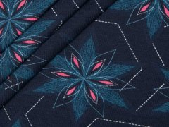 Jersey Single - Blumen - Strichlinie - Bordüre - Hilco - dunkelblau