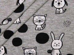 Jersey Single - Katzen - Hasen - Hunde - schwarz - weiß - Hilco - grau - meliert