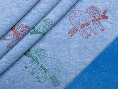 Alpenfleece - Faultiere - blau - meliert
