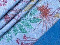 Alpenfleece - Blumen - blau - meliert