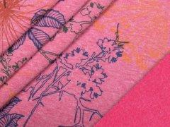 Alpenfleece - Blumen - pink - meliert