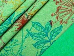 Alpenfleece - Blumen - grün - meliert