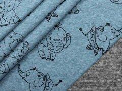 Alpenfleece - Elefanten - blau - meliert