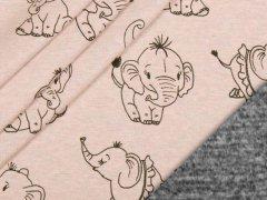 Alpenfleece - Elefanten - rosa - meliert