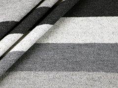 Merino Jacquard Strick Blockstreifen anthrazit - grau