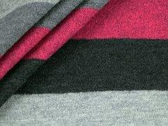 Merino Jacquard Strick Streifen pink - grau