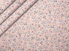 Baumwolle - Blumen - rosa  - weiß - braun