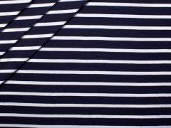Reststück 1,15m - Jersey Viskose - Streifen - navy - weiß