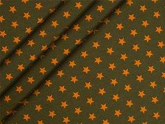 Jersey Single - Sterne - orange - olivgrün
