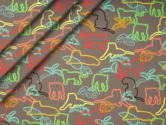 Jersey Single - Tiere - neon - taupe