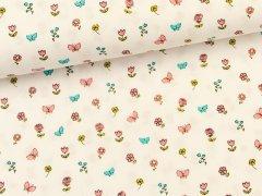 Baumwolle - Schmetterlinge - Blumen weiß