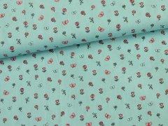 Baumwolle - Schmetterlinge - Blumen - mint