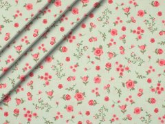 Reststück 0,95m - Bio-Baumwolle - Blumen - mint - rosa - grün