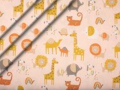 Bio-Baumwolle - Safari - Tiere - rosa - senf - orange - grau