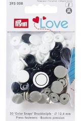 'Color Snaps' Druckknöpfe 12,4mm - Prym Love  schwarz, grau, weiß
