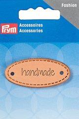 Applikation - Label - handmade - rund - 60 x 13mm - Prym - natur