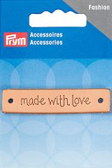 Applikation - Label - handmade with love - 60 x 13mm - Prym - natur