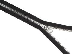 Reißverschluss YKK - schwarz - silber - 25-80cm - teilbar 75 cm