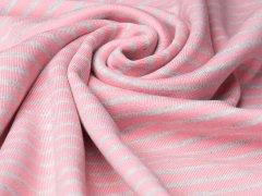 BIO Jersey Interlock - Linnea - Streifen - rosa - hellgrau meliert