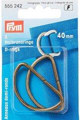 Halbrundringe - D-Ringe - 40mm - altmessing - Prym