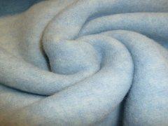 Merino Fleece - Bobby - meliert - hellblau - Reststück 0,40m