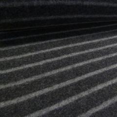 BIO Wollfleece Merino - Streifen - anthrazit - grau