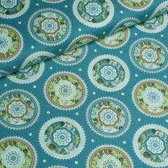 Popeline - Blumen - Kreise - Tante Ema - blau - grün - mint