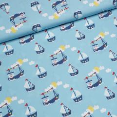 Popeline - Cozy Boats - Ahoi, little Sailor - Boote - JatiJu - Hilco - hellblau