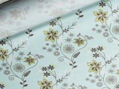 Wachstuch - Blumen - Ranken - Tante Ema - mint