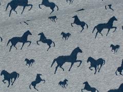 Jersey Jacquard - Pferde - dunkelblau - grau meliert