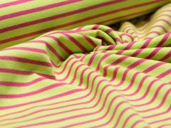 Jersey Single - Campan - Streifen - Hilco - hellgrün - pink