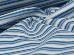 Bündchen Feinripp - Ringel - blau - hellblau - weiß - beige
