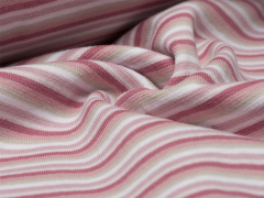 Bündchen Feinripp - Ringel - rosa - weiß - beige
