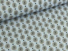 Baumwolle - Kreise - hellblau - weiß - schwarz