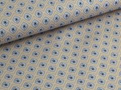 Baumwolle - Blumen - Punkte - beige - blau - weiß