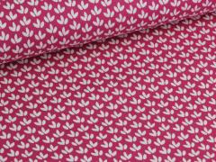 Baumwolle - Blätter - pink - weiß