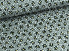 Baumwolle - Blumen - Punkte - grau - gelb - schwarz